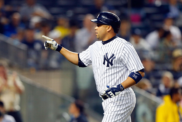 NEW YORK, NY - JUNE 20:  Carlos Beltran #36 of the New York Yankees in action against the Detroit Tigers at Yankee Stadium on June 20, 2015 in the Bronx borough of New York City. The Yankees defeated the Tigers 14-3.  (Photo by Jim McIsaac/Getty Images)