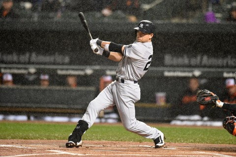 BALTIMORE, MD - OCTOBER 03:  Jacoby Ellsbury #22 of the New York Yankees takes a swing in the rain in the first inning during game two of a double header against the Baltimore Orioles at Oriole Park at Camden Yards on October 3, 2015 in Baltimore, Maryland.  (Photo by Mitchell Layton/Getty Images)