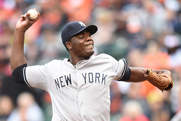 BALTIMORE, MD - OCTOBER 04:  Michael Pineda #35 of the New York Yankees pitches in the first inning during a baseball game against the Baltimore Orioles at Oriole Park at Camden Yards on October 4, 2015 in Baltimore, Maryland.  (Photo by Mitchell Layton/Getty Images)