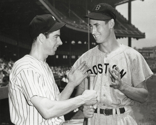 (FILE PHOTO: Date Unknown) MLB Baseball - New York Yankees Joe Dimaggio and Boston Red Sox Ted Williams.  (Photo by Bill Green/Sporting News via Getty Images)