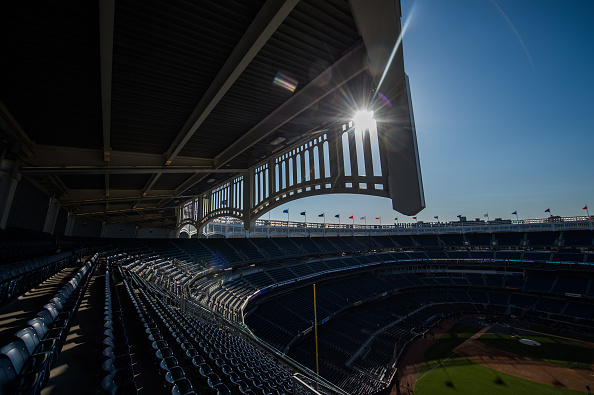 NEW YORK - APRIL 24:  A  detail shot of the facade of Yankee Stadium before the game between the New York Yankees and the New York Mets at Yankee Stadium on April 24, 2015 in the Bronx borough of New York City. (Photo by Rob Tringali/SportsChrome/Getty Images)