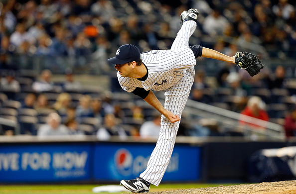 NEW YORK, NY - APRIL 28:  Chris Martin #57 of the New York Yankees in action against the Tampa Bay Rays at Yankee Stadium on April 28, 2015 in the Bronx borough of New York City. The Yankees defeated the Rays 4-2.  (Photo by Jim McIsaac/Getty Images)