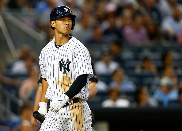 NEW YORK, NY - JULY 17: Rob Refsnyder #64 of the New York Yankees in action against the Seattle Mariners during a MLB baseball game at Yankee Stadium on July 17, 2015 in the Bronx borough of New York City. (Photo by Rich Schultz/Getty Images)