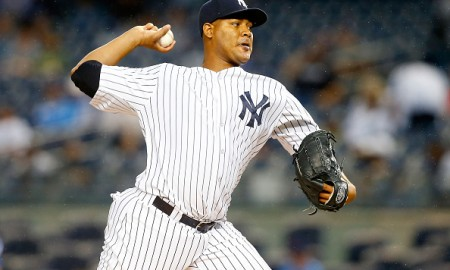 NEW YORK, NY - SEPTEMBER 12:  Ivan Nova #47 of the New York Yankees pitches in the first inning against the Toronto Blue Jays at Yankee Stadium on September 12, 2015 in the Bronx borough of New York City.  (Photo by Jim McIsaac/Getty Images)