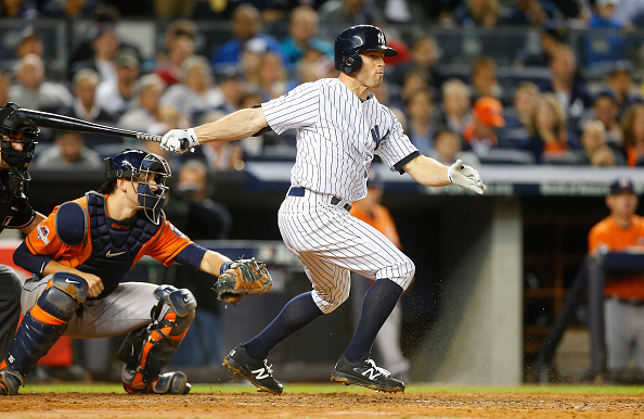 NEW YORK, NY - OCTOBER 06:  (NEW YORK DAILIES OUT)   Brett Gardner #11 of the New York Yankees in action against the Houston Astros during the American League Wild Card Game at Yankee Stadium on October 6, 2015 in the Bronx borough of New York City, New York. The Astros defeated the Yankees 3-0.  (Photo by Jim McIsaac/Getty Images)