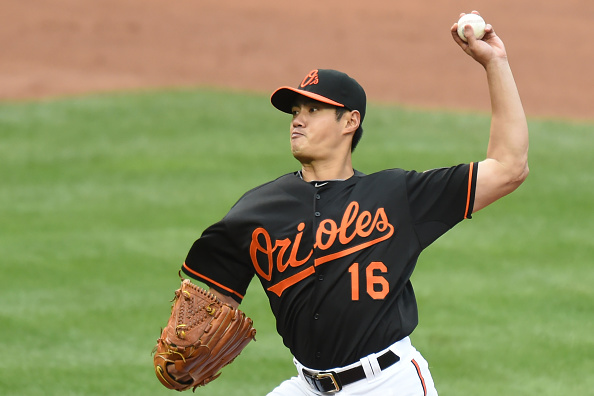 BALTIMORE, MD - OCTOBER 03: Wei-Yin Chen #16 of the Baltimore Orioles pitches during game one of a baseball game against the New York Yankees at Oriole Park at Camden Yards on October 3, 2015 in Baltimore, Maryland. The Orioles won 9-2. (Photo by Mitchell Layton/Getty Images)