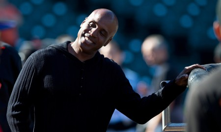 SAN FRANCISCO, CA - JULY 10:  Former Major League Baseball player Barry Bonds watches the San Francisco Giants during batting practice before the game against the Philadelphia Phillies at AT&T Park on July 10, 2015 in San Francisco, California.  The San Francisco Giants defeated the Philadelphia Phillies 15-2. (Photo by Jason O. Watson/Getty Images)