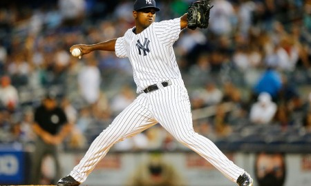NEW YORK, NY - SEPTEMBER 11:  (NEW YORK DAILIES OUT)   Luis Severino #40 of the New York Yankees in action against the Toronto Blue Jays at Yankee Stadium on September 11, 2015 in the Bronx borough of New York City. The Jays defeated the Yankees 11-5.  (Photo by Jim McIsaac/Getty Images)