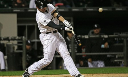 CHICAGO, IL - SEPTEMBER 30: Tyler Flowers #21 of the Chicago White Sox hits a run-scoring double in the 8th inning to tie a game against the Kansas City Royals at U.S. Cellular Field on September 30, 2015 in Chicago, Illinois. (Photo by Jonathan Daniel/Getty Images)