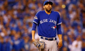 KANSAS CITY, MO - OCTOBER 23:  David Price #14 of the Toronto Blue Jays reacts on the mound in the seventh inning while taking on the Kansas City Royals in game six of the 2015 MLB American League Championship Series at Kauffman Stadium on October 23, 2015 in Kansas City, Missouri.  (Photo by Jamie Squire/Getty Images)