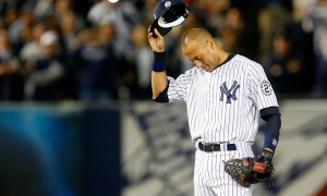 NEW YORK, NY - SEPTEMBER 25:  (NEW YORK DAILIES OUT)  Derek Jeter #2 of the New York Yankees gestures to the crowd during a game against the Baltimore Orioles at Yankee Stadium on September 25, 2014 in the Bronx borough of New York City. The game was Jeter's last at Yankee Stadium and the Yankees defeated the Orioles 6-5.  (Photo by Jim McIsaac/Getty Images)