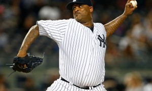 NEW YORK, NY - SEPTEMBER 09: Pitcher CC Sabathia #52 of the New York Yankees in action against the Baltimore Orioles during a MLB baseball game at Yankee Stadium on September 9, 2015 in the Bronx borough of New York City. (Photo by Rich Schultz/Getty Images)