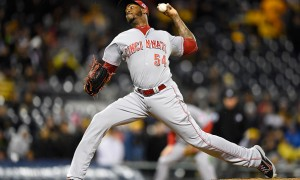 PITTSBURGH, PA - OCTOBER 2:  Aroldis Chapman #54 of the Cincinnati Reds pitches during the ninth inning against the Pittsburgh Pirates on October 2, 2015 at PNC Park in Pittsburgh, Pennsylvania.  (Photo by Joe Sargent/Getty Images)