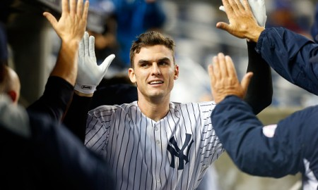 NEW YORK, NY - OCTOBER 01:  (NEW YORK DAILIES OUT)   Greg Bird #31 of the New York Yankees celebrates his home run against the Boston Red Sox at Yankee Stadium on October 1, 2015 in the Bronx borough of New York City. The Yankees defeated the Red Sox 4-1. The Yankees clinched a wildcard playoff position and won their 10,000th regular season game.  (Photo by Jim McIsaac/Getty Images)