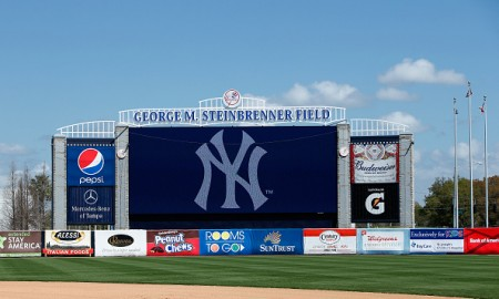 TAMPA, FL - MARCH 4: General view of the scoreboard and team logo before the game between the New York Yankees and Philadelphia Phillies at George M. Steinbrenner Field on March 4, 2015 in Tampa, Florida. The Phillies defeated the Yankees 3-1. (Photo by Joe Robbins/Getty Images)