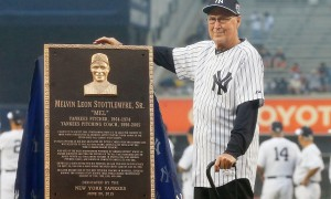 NEW YORK, NY - JUNE 20:  Former New York Yankee player and coach Mel Stottlemyre poses with his plaque that will be placed in Monument Park at Yankee Stadium prior to a game against the Detroit Tigers on June 20, 2015 in the Bronx borough of New York City.  (Photo by Jim McIsaac/Getty Images)
