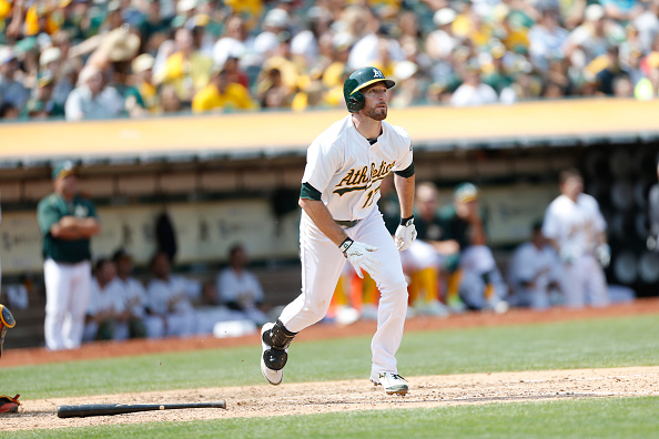 OAKLAND, CA - AUGUST 8: Ike Davis #17 of the Oakland Athletics bats during the game against the Houston Astros at O.co Coliseum on August 8, 2015 in Oakland, California. The Athletics defeated the Astros 2-1. (Photo by Michael Zagaris/Oakland Athletics/Getty Images)