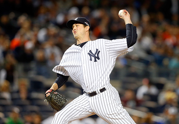 NEW YORK, NY - OCTOBER 06:  (NEW YORK DAILIES OUT)   Andrew Miller #48 of the New York Yankees in action against the Houston Astros during the American League Wild Card Game at Yankee Stadium on October 6, 2015 in the Bronx borough of New York City, New York. The Astros defeated the Yankees 3-0.  (Photo by Jim McIsaac/Getty Images)