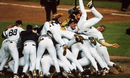 BRONX, NY - OCTOBER 26: The New York Yankees celebrating after winning the 1996 World Series against the Atlanta Braves at Yankee Stadium on October 26, 1996 in the Bronx, New York.   (Photo by Ronald C. Modra/Sports Imagery/Getty Images)