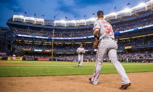 NEW YORK - JUNE 09: Bryce Harper #34 of the Washington Nationals takes the field during the game against the New York Yankees at Yankee Stadium on June 9, 2015 in the Bronx borough of New York City. (Photo by Rob Tringali/SportsChrome/Getty Images)