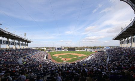 TAMPA FL- MARCH 2: George M. Steinbrenner Field during the game between the Detroit Tigers and the New York Yankees on March 2, 2016 during the Spring Training Game at George Steinbrenner Field in Tampa, Florida. (Photo by Leon Halip/Getty Images)