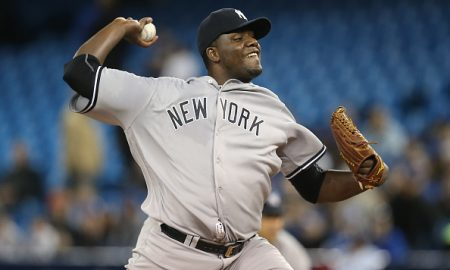 TORONTO, CANADA - APRIL 13: Michael Pineda #35 of the New York Yankees delivers a pitch in the first inning during MLB game action against the Toronto Blue Jays on April 13, 2016 at Rogers Centre in Toronto, Ontario, Canada. (Photo by Tom Szczerbowski/Getty Images)