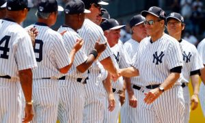 NEW YORK, NY - JUNE 22:  Former New York Yankee manager Joe Torre is introduced during the teams Old Timers Day prior to a game between the New York Yankees and the Baltimore Orioles at Yankee Stadium on June 22, 2014 in the Bronx borough of New York City.  The Orioles defeated the Yankees 8-0.  (Photo by Jim McIsaac/Getty Images)