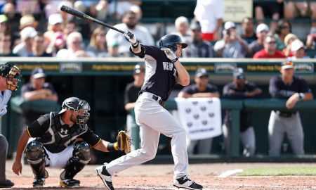 BRADENTON, FL - MARCH 5: Jake Cave #93 of the New York Yankees bats during the game against the Pittsburgh Pirates at McKechnie Field on March 5, 2015 in Bradenton, Florida. The Yankees defeated the Pirates 2-1. (Photo by Joe Robbins/Getty Images)