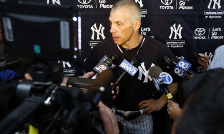 TAMPA, FL - FEBRUARY 19:  Joe Girardi, Manager of the New York Yankees speaks after Derek Jeter spoke at a media availability after announcing that the 2014 season will be his last before retiring at George M. Steinbrenner Field on February 19, 2014 in Tampa, Florida. (Photo by Mike Carlson/Getty Images)