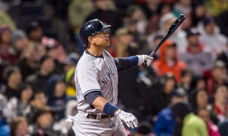 BOSTON, MA - MAY 1: Alex Rodriguez #13 of the New York Yankees hits an RBI double during the fifth inning of a game against the Boston Red Sox on May 1, 2016 at Fenway Park in Boston, Massachusetts. (Photo by Billie Weiss/Boston Red Sox/Getty Images)