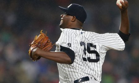 NEW YORK, NY - MAY 06: Pitcher Michael Pineda #35 of the New York Yankees in action against the Boston Red Sox during a game at Yankee Stadium on May 6, 2016 in the Bronx borough of New York City. (Photo by Rich Schultz/Getty Images)