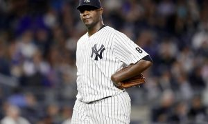 NEW YORK, NY - MAY 11:  Michael Pineda #35 of the New York Yankees reacts in the sixth inning against the Kansas City Royals at Yankee Stadium on May 11, 2016 in the Bronx borough of New York City.  (Photo by Elsa/Getty Images)