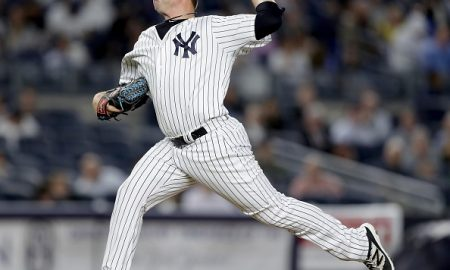 NEW YORK, NY - MAY 11:  Phil Coke #43 of the New York Yankees delivers a pitch in the seventh inning against the Kansas City Royals at Yankee Stadium on May 11, 2016 in the Bronx borough of New York City.  (Photo by Elsa/Getty Images)
