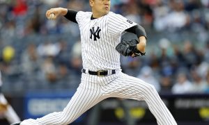 NEW YORK, NY - MAY 15:  Masahiro Tanaka #19 of the New York Yankees delivers a pitch in the fourth inning against the Chicago White Sox at Yankee Stadium on May 15, 2016 in the Bronx borough of New York City.  (Photo by Elsa/Getty Images)