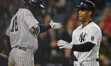 NEW YORK, NY - MAY 06: Aaron Hicks #31 of the New York Yankees is congratulated by Didi Gregorius #18 after hitting a home run against the Boston Red Sox in the seventh inning during a game at Yankee Stadium on May 6, 2016 in the Bronx borough of New York City. (Photo by Rich Schultz/Getty Images)