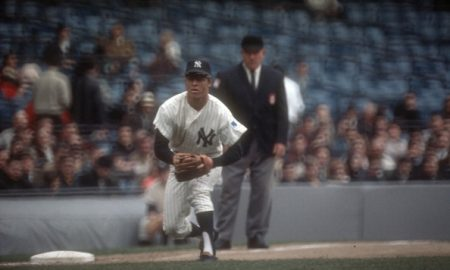 NEW YORK - CIRCA 1969: Bobby Murcer #1 of the New York Yankees goes down to make a play on the ball during an Major League Baseball game at Yankee Stadium circa 1969 in the Bronx borough of New York City. Murcer played for the Yankees from 1965-66 and 1969-74. (Photo by Focus on Sport/Getty Images)