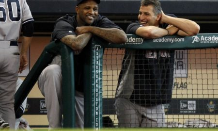 HOUSTON,TX - SEPTEMBER 29: CC Sabathia #52, left, and Andy Pettitte #46 of the New York Yankees talk in the dugout during the seventh inning against the Houston Astros on September 29, 2013 at Minute Maid Park in Houston, TX. (Photo by Eric Christian Smith/Getty Images)