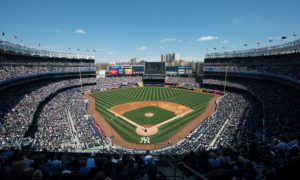 NEW YORK - APRIL 26: A general view of Yankee Stadium during the game between the Los Angeles Angels and the New York Yankees at Yankee Stadium on April 26, 2014 in the Bronx borough of New York City. (Photo by Rob Tringali/SportsChrome/Getty Images)