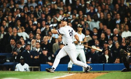 BRONX, NY - NOVEMBER 1:  Tino Martinez of the New York Yankees bats during Game Five of the World Series against the Arizona Diamondbacks on November 1, 2001 at Yankee Stadium in Bronx, New York. (Photo by Sporting News via Getty Images)
