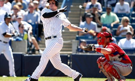 TAMPA, FL - MARCH 4:  Tyler Austin #79 of the New York Yankees strikes out swinging in front of catcher Tommy Joseph #73 of the Philadelphia Phillies to end the second inning of a spring training game on March 4, 2015 at Steinbrenner Field in Tampa, Florida.  (Photo by Brian Blanco/Getty Images) *** Local Caption *** Tyler Austin, Tommy Joseph