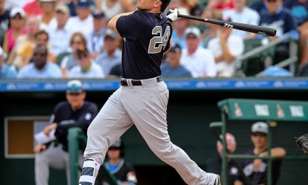 JUPITER, FL - MARCH 8: Chris Parmelee #24 of the New York Yankees at bat during the spring training game against the Miami Marlins at Roger Dean Stadium on March 8, 2016 in Jupiter, Florida. (Photo by Rob Foldy/Getty Images)