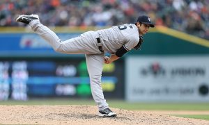 DETROIT, MI - APRIL 8: Luis Cessa #85 of the New York Yankees pitches during the eight inning of the Opening Day Game against the Detroit Tigers on April 8, 2016 at Comerica Park, Detroit, Michigan. The Tigers defeated the Yankees 4-0. (Photo by Leon Halip/Getty Images)