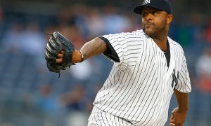NEW YORK, NY - JUNE 28: Pitcher CC Sabathia #52 of the New York Yankees delivers a pitch against the Texas Rangers during the first inning of a game at Yankee Stadium on June 28, 2016 in the Bronx borough of New York City. (Photo by Rich Schultz/Getty Images)