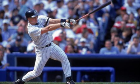 16 Apr 2000: Shane Spencer #47 of the New York Yankees hits the ball during a game against  the Kansas City Royals at Yankee Stadium in Bronx, New York. The Yankees defeated the Royals 8-4. Mandatory Credit: David Leeds  /Allsport