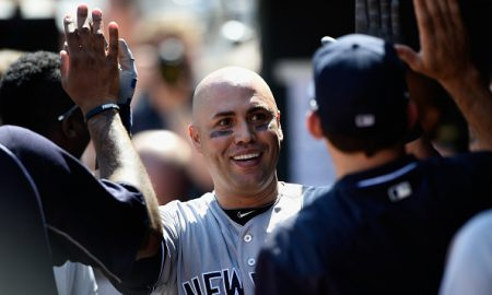 MINNEAPOLIS, MN - JUNE 18: Carlos Beltran #36 of the New York Yankees celebrates hitting a two-run home run against the Minnesota Twins during the eighth inning of the game on June 18, 2016 at Target Field in Minneapolis, Minnesota. The Yankees defeated the Twins 7-6. (Photo by Hannah Foslien/Getty Images)