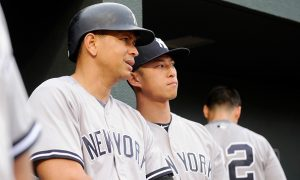 BALTIMORE, MD - JUNE 04:  Alex Rodriguez #13 and Rob Refsnyder #38 of the New York Yankees talk during the first inning against the Baltimore Orioles at Oriole Park at Camden Yards on June 4, 2016 in Baltimore, Maryland.  (Photo by Greg Fiume/Getty Images)