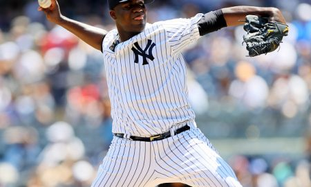 NEW YORK, NY - JUNE 30:  Michael Pineda #35 of the New York Yankees delivers a pitch in the first inning against the Texas Rangers at Yankee Stadium on June 30, 2016 in the Bronx borough of New York City.  (Photo by Elsa/Getty Images)