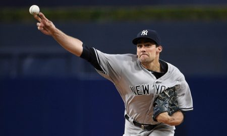 SAN DIEGO, CALIFORNIA - JULY 1:  Nathan Eovaldi #30 of the New York Yankees pitches during the first inning of a baseball game against the San Diego Padres at PETCO Park on July 1, 2016 in San Diego, California.  (Photo by Denis Poroy/Getty Images)