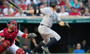 CLEVELAND, OH -  JULY 7: Brett Gardner #11 of the New York Yankees hits an RBI single during the fifth inning against the Cleveland Indians at Progressive Field on July 7, 2016 in Cleveland, Ohio. (Photo by Jason Miller/Getty Images)  *** Local Caption *** Brett Gardner
