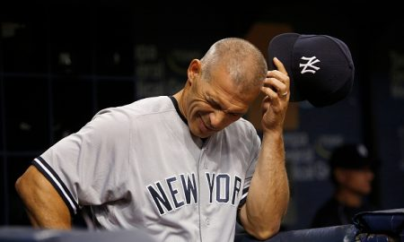 ST. PETERSBURG, FL - JULY 29: Manager Joe Girardi #28 of the New York Yankees waits in the dugout after taking pitcher Ivan Nova off the mound during the fifth inning of a game against the Tampa Bay Rays on July 29, 2016 at Tropicana Field in St. Petersburg, Florida. (Photo by Brian Blanco/Getty Images)